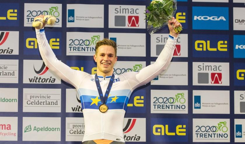 Harrie Lavreysen in het Europese kampioenshirt. Foto: Peter van Rooij (Kempenfoto.nl)