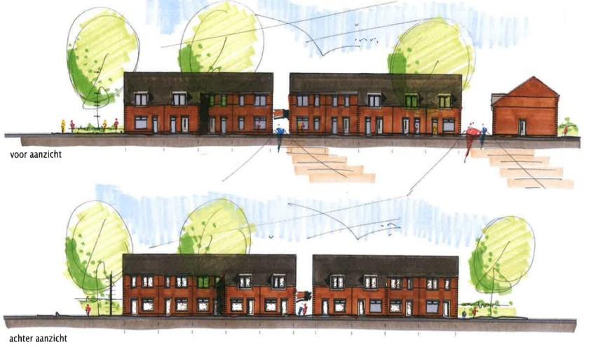 Artist impression van de nieuwe woningen aan de Michiel de Ruyterstraat.