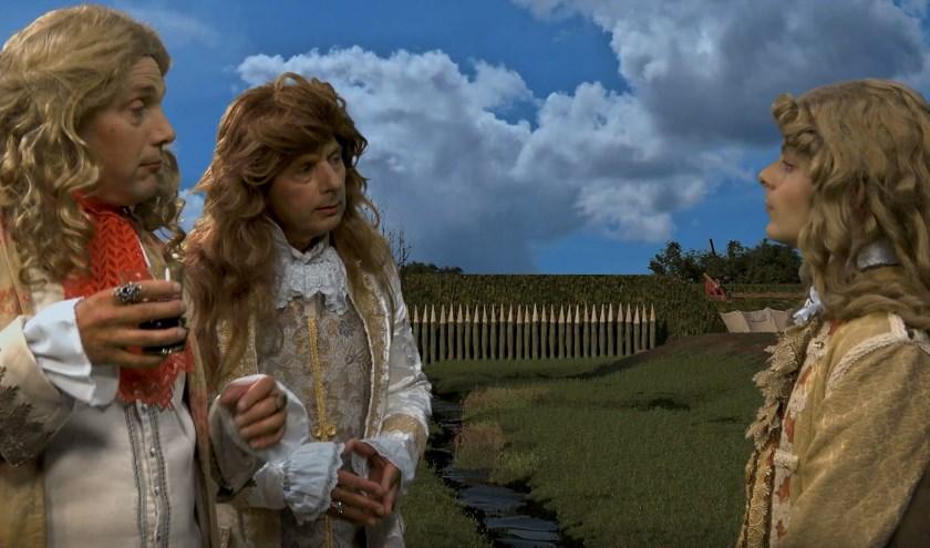 Niels Groffen (rechts) speelt Willem III in twee van de filmpjes, die de verschillende locaties tot leven wekken. Eigen foto