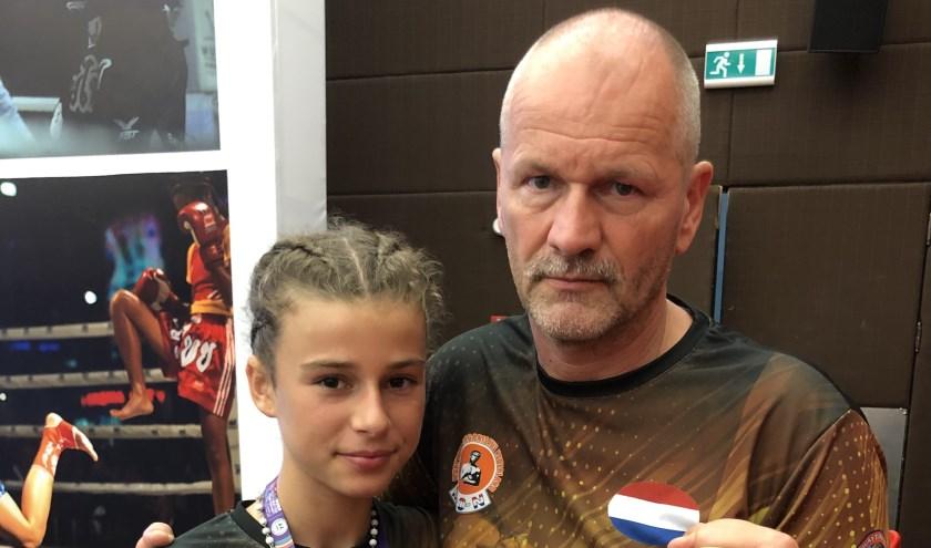 Cheyenne Aldus met papa trainer coach Aad Aldus
