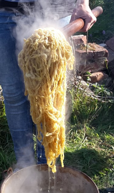 Wol verven met natuurlijke materialen