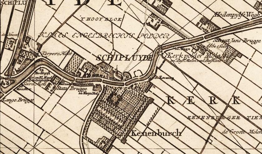 Detail van de kaart van Kruikius met de dorpskern van Schipluiden, 1712.