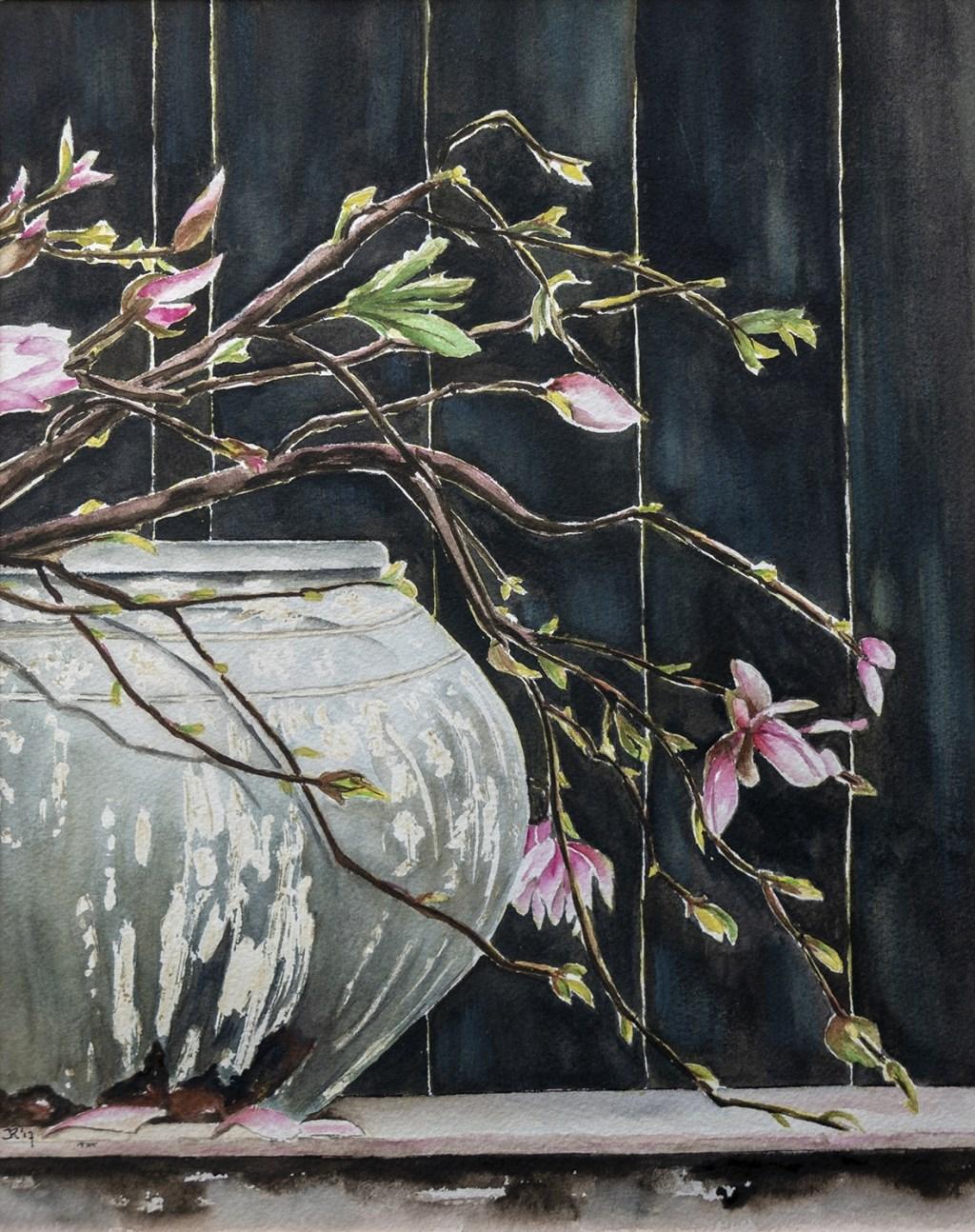 Vaas met magnolia's Foto: Hans Hendriks © DPG Media