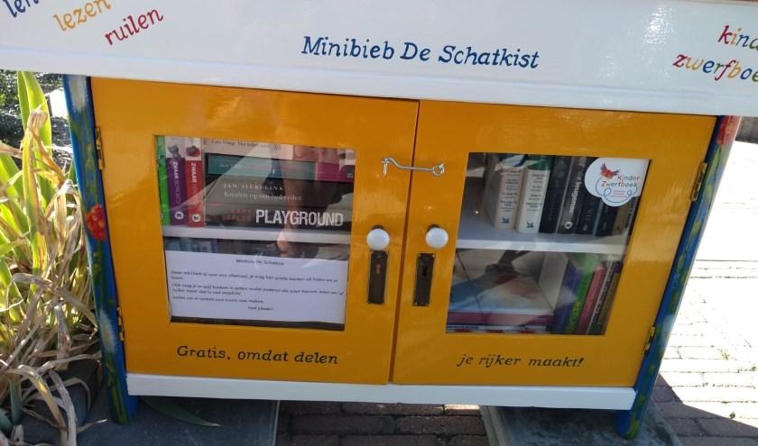 Minibieb De Schatkist is te vinden aan de J.P. Coenstraat 7 in Zevenaar. (foto: Karin Saat)