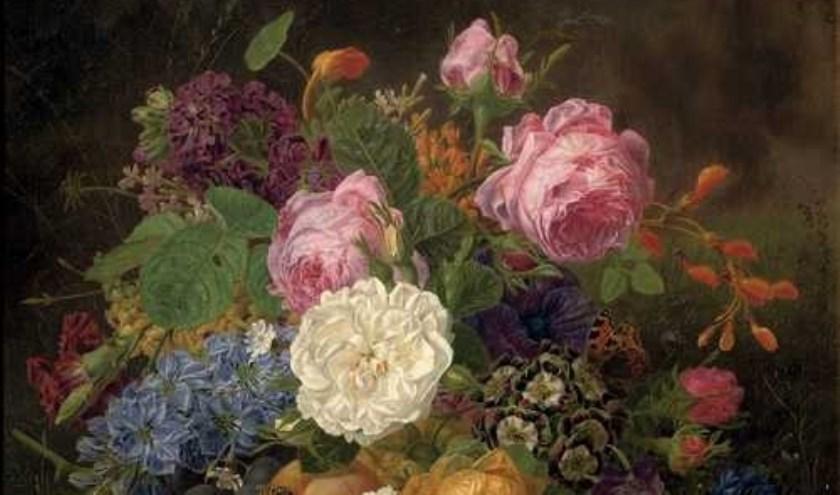 Stilleven dat Henriëtta Knip in 1834 heeft geschilderd en nu in Het Noordbrabants Museum hangt. foto: Het Noordbrabants Museum