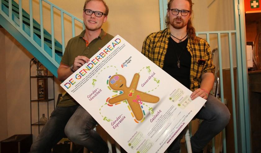 Stijn Ruijssenaars en Mikey Woltheus presenteren de LGBTIQ+ avond in Odeon. (Foto Theo van Sambeek).