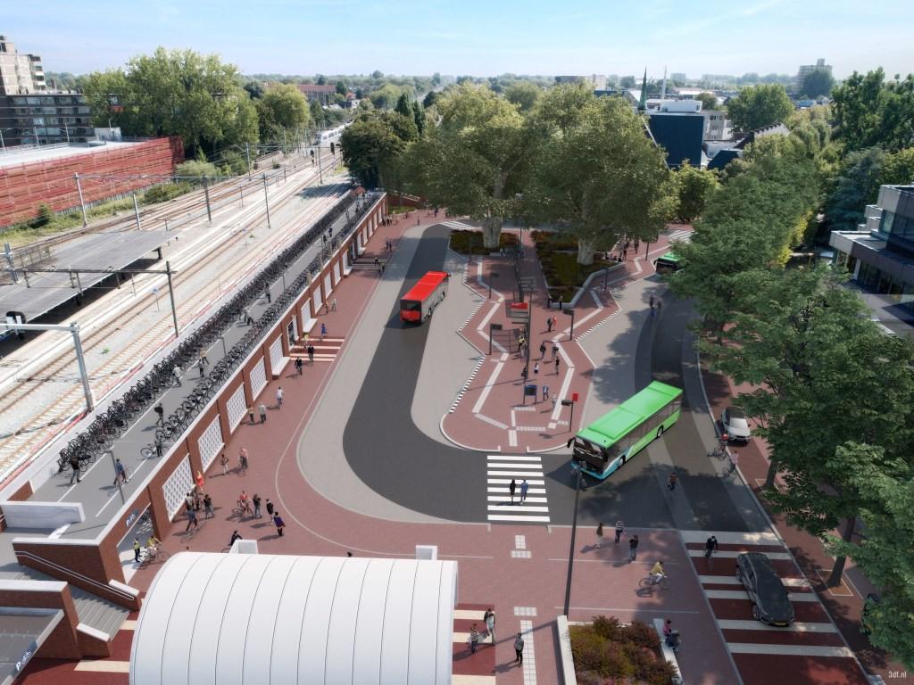 Artist Impression van het nieuwe busstation met links de fietsenstalling. Foto:PR  © DPG Media