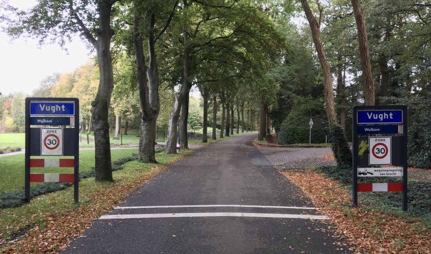 Bij de opsplitsing van de gemeente Haaren op 1 januari 2021 gelden de historische grenzen tussen de vier dorpen als uitgangspunt. Hier de grens van Helvoirt met Vught.