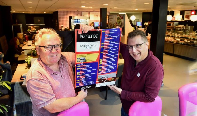 Wim Vriezen (links) en Eelco Walraven, organisatie Popronde Doetinchem.