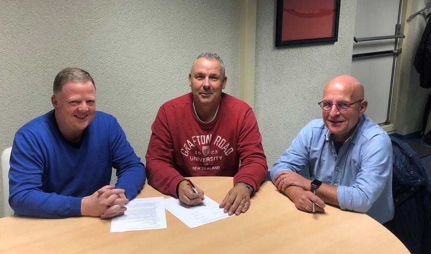 Van links naar rechts, Hans Jonker (VV Papendrecht), Marko Bakema (Des '72) en Ron van den Bos (TTV Papendrecht). (Foto: Privé)