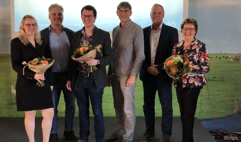 Volledig hoofdbestuur met v.l.n.r: Marina Eckhardt, Hans Middendorp, Glenny Davidse, Ron van Megen, Jan van Oorschot en Leonie Bruggink–Van der Steen.