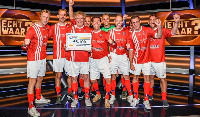 FC Drunen wint 6.100 euro in televisieprogramma Echt Waar?! Foto: vriendenLoterij