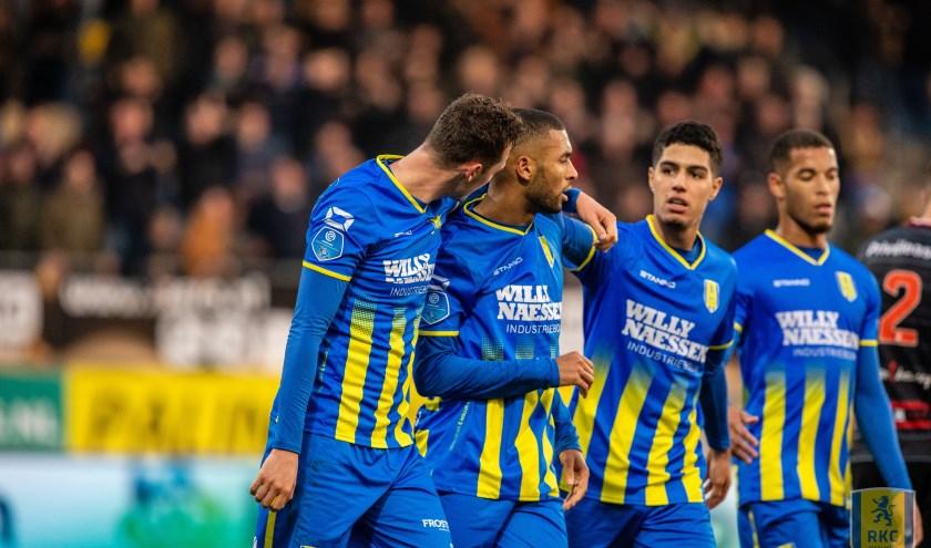 RKC Waalwijk hield zondag dankzij een doelpunt diep in de blessuretijd een punt over aan de thuiswedstrijd tegen FC Emmen. Foto: Alexander de Peffer