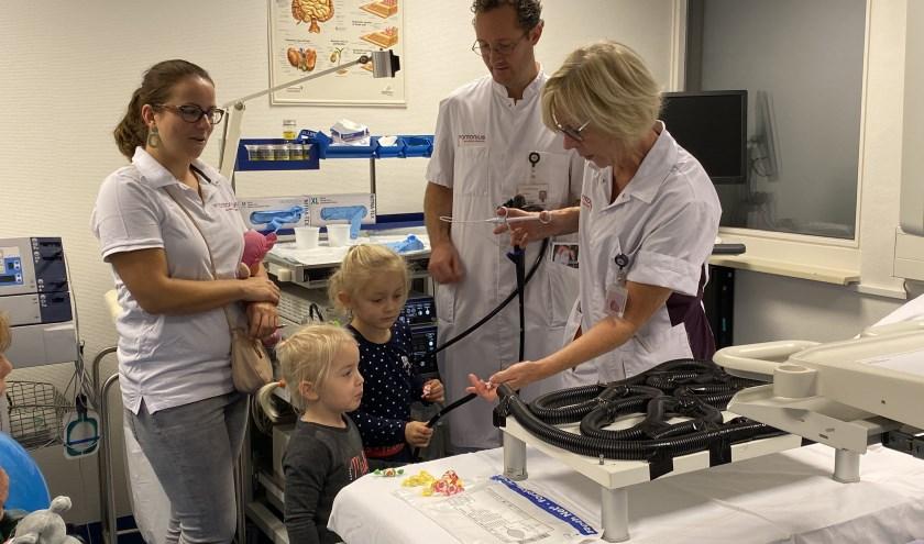 Kinderen mochten onder begeleiding van een arts een endoscopie uitvoeren en zo een kijkje nemen in de darmen