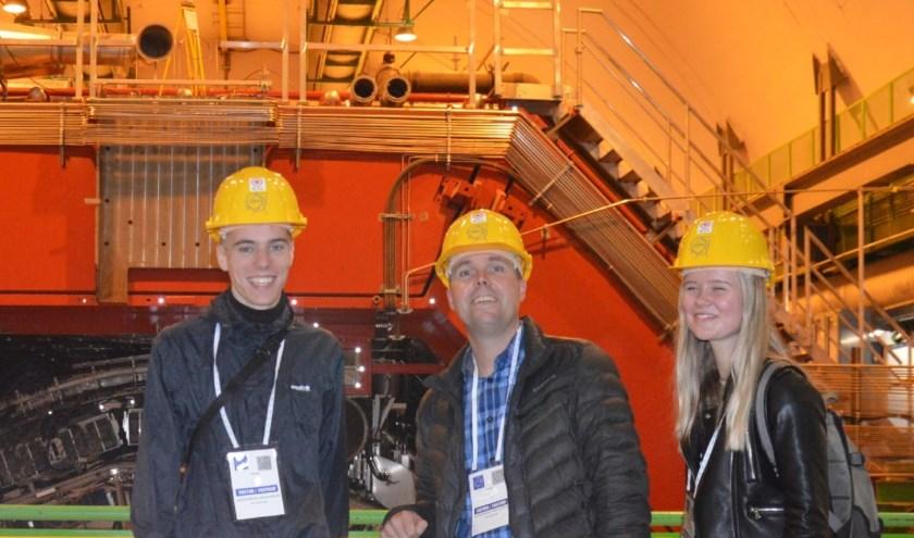 Tijmen Fraiquin, Joris de Vries en Roos Mulder (v.l.n.r.) voor de ALICE detector