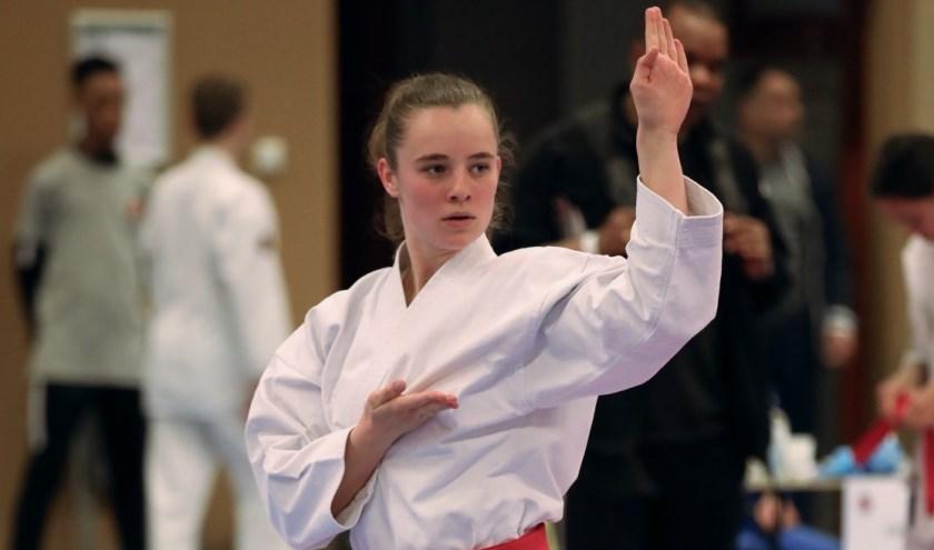 Karateka's in actie tijdens de Vanencompetitie.
