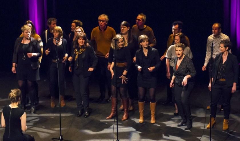 On-Cue tijdens een optreden bij 'Zwolle Zingt'. De vocalgroup zoekt zangers voor een muziekvoorstelling over vrijheid. (foto: Peter van Leeuwen)
