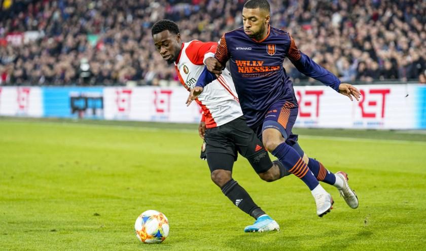 RKC Waalwijk nam op bezoek bij Feyenoord brutaal een 2-0 voorsprong, maar moest uiteindelijk toch het hoofd buigen. Foto: ProShots