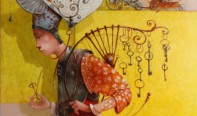 Te zien zijn prachtige dromerige olieverfschilderijen in schitterende kleuren.