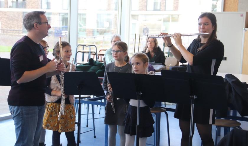 Bij de workshop voor de fluitisten tijdens het concours was veel belangstelling.