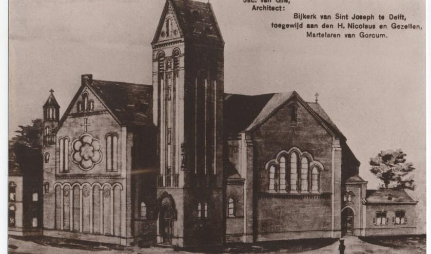 Een oude foto van de RK kerk in de Raamstraat.