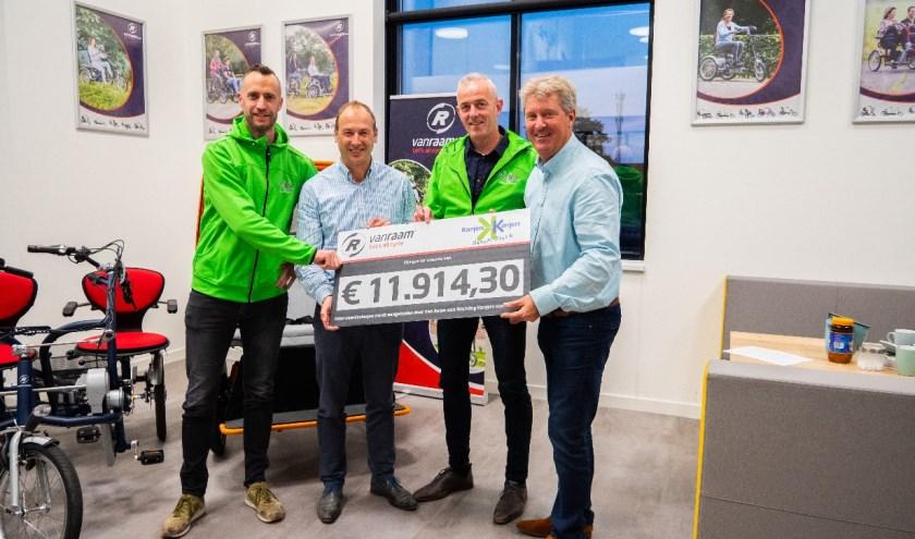 Maarten Idink, Jan-Willem Boezel, John Theissen en Ronald Ruesink met de cheque.