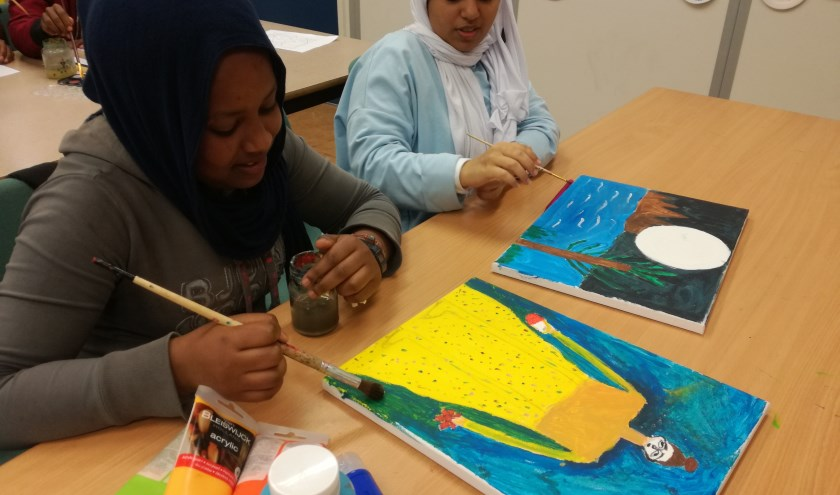 Weer terug op school maakten de leerlingen op linnen een echt schilderij.
