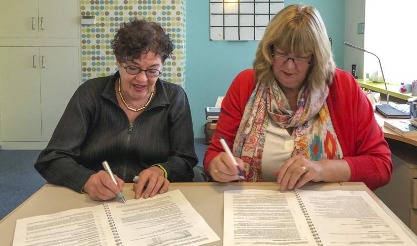 Architect Jeanne Dekkers (links) en bestuurder Stichting OOH Annelies Smits (rechts) tekenen overeenkomst ontwerpopdracht schoolgebouw OBS De Velduil.