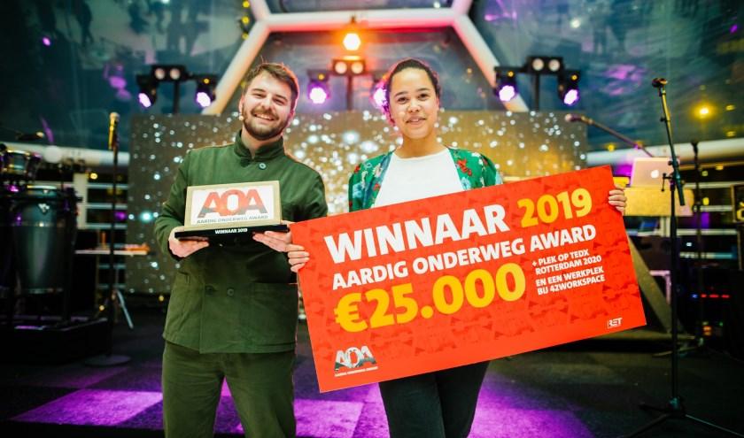 De winnaars Ayuk Bakia en Scifo Minnaard van Falafval.