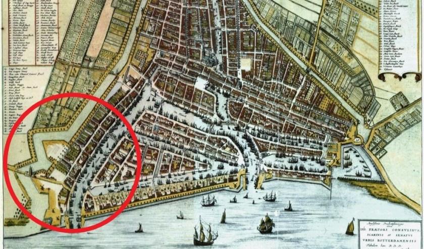 Rotterdam in 1652 met omcirkeld de Schiedamse Vest.