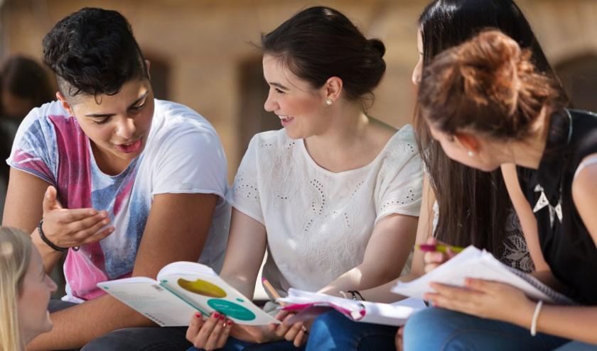 Bij de Euregionale Scholenwedstrijd houden scholieren zich in kleine groepjes bezig met het thema 'vrijheid'.