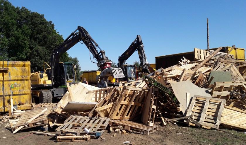 Met grote machines wordt het huttendorp van het Bennekomse Kinderdorp afgebroken. Symbool voor de Stichting Kinderdorp Bennekom?.....