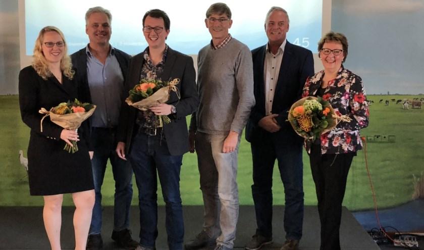 Het volledige hoofdbestuur met van links naar rechts Marina Eckhardt, Hans Middendorp, Glenny Davidse, Ron van Megen, Jan van Oorschot en Leonie Bruggink–Van der Steen.