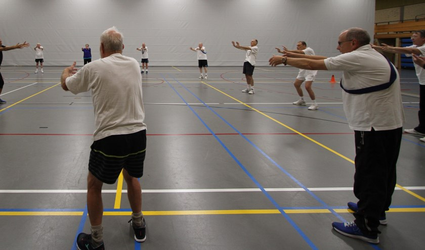 Sinds 1996 leven de leden van de Eindhovense Hart Trim Stichting (EHTS) Groep Veldhoven zich uit in sporthal Den Ekkerman. Onder deskundige leiding vermaken zij zich er elke woensdag met een sport- en spelmiddag. FOTO: Ad Adriaans.