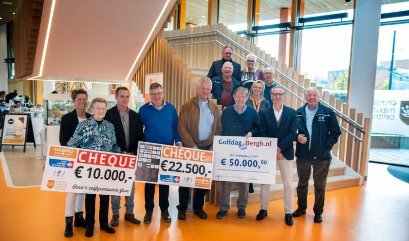 Riet Bodd, tweede van links, heeft onlangs een cheque van € 10.000,00 overhandigd aan het Prinses Máxima Centrum!