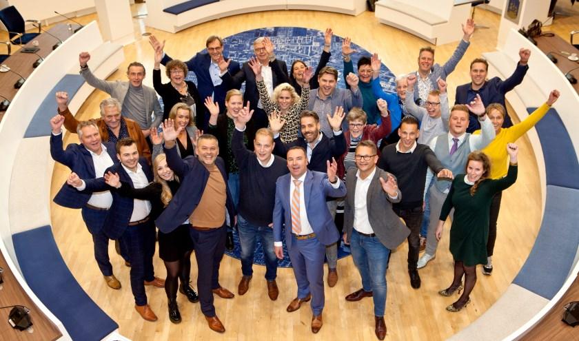Alle genomineerden bijeen. Linksboven de jury. Op deze foto ontbreken de hoofdsponsors: gemeente Veenendaal, BOV, Rabobank Vallei en Rijn en Olenz Notarissen. (Foto: Annemarie Bakker Fotografie)