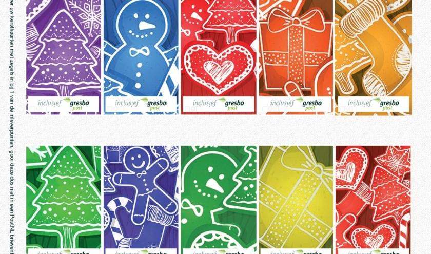 De decemberzegels van Inclusief Gresbo Post.