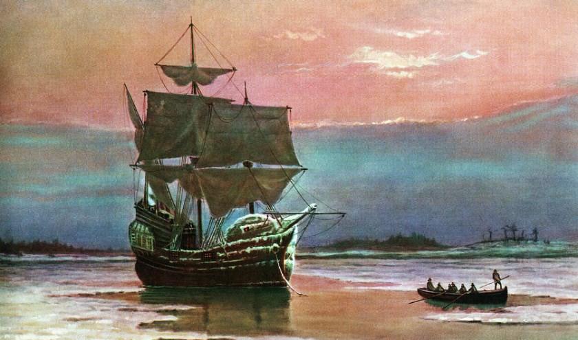 De Mayflower bereikt Amerika.