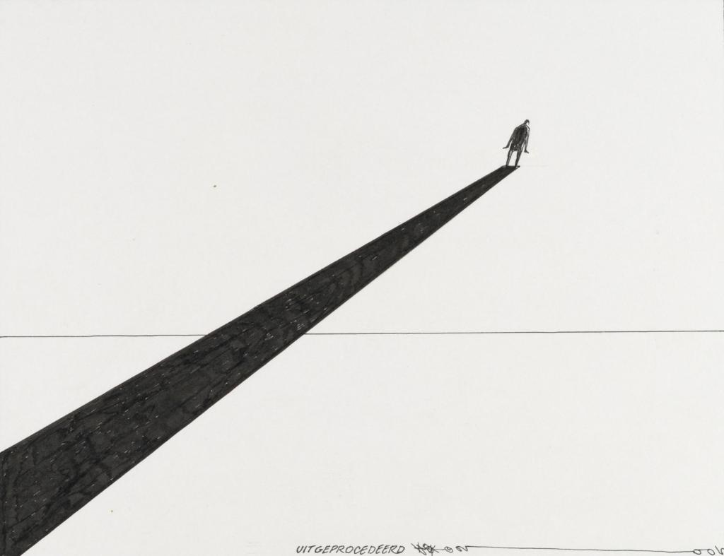 De tekening 'Uitgeprocedeerd' uit 2005 telt maar een paar lijnen. Twee ervan vormen een pad dat naar een machteloos figuurtje leidt. Favoriet werk van Theo Gootjes, uit de collectie van Atlas van Stolk in Rotterdam.  Foto:  © DPG Media