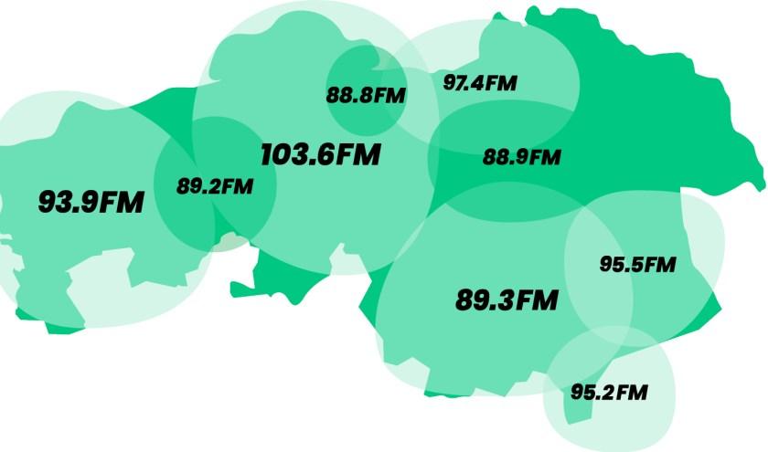 De frequentiekaart van Radio 10 Brabant