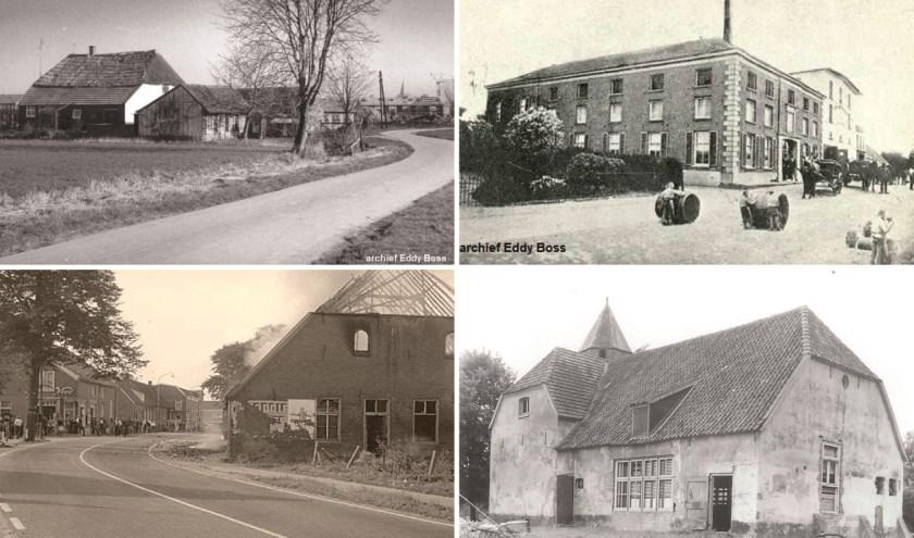 Woning toenmalige Droostraat (links boven), Bierbrouwerij De Star (rechts boven), woning/schuur Rijksweg (links), Havezathe De Magerhorst.