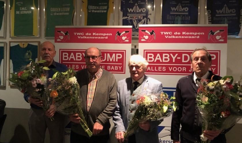 Op de foto: Ruud Jansen, Jan Wilbers, Piet Mollen en Wim v/d Dungen.