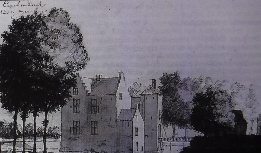 Tekening van kasteel Engelenburg in Herwijnen.