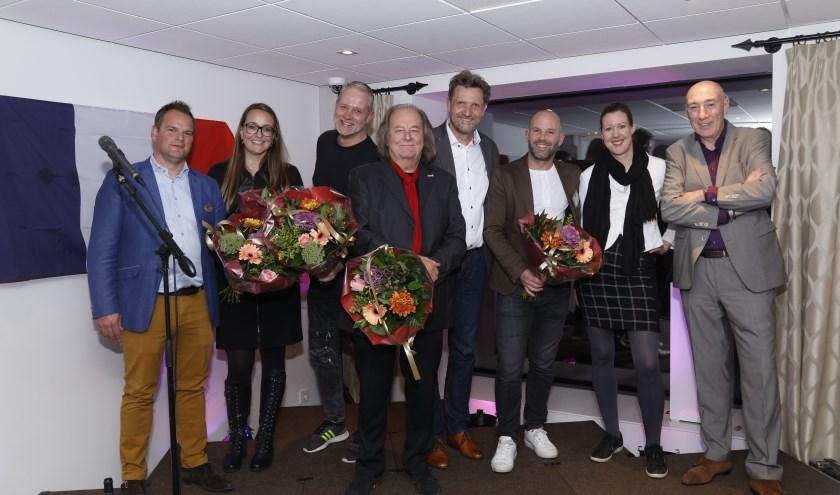 Hoofdrolspelers tijdens de Beaujolais Primeur Party (vlnr): Maurice Brancart en Tessa Radius (Golden Tulip Zoetermeer-Den Haag), Paul Vleghaar (Mediageniek), Gerhard ten Hoopen (Zoetermeer Jazz), Ruud Steggerda (Stichting Floravontuur), Niek Brinkman