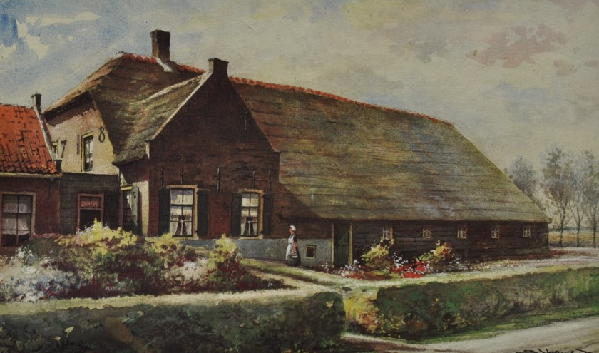 Boerderij De Hoogenberg uit het aquarellenboek 'Boerderijen in Zuid-Holland' van J. Verheul Dzn.