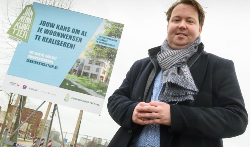 Wethouder Jeroen Diepemaat bij de start van de bouw van het Janninkkwartier.