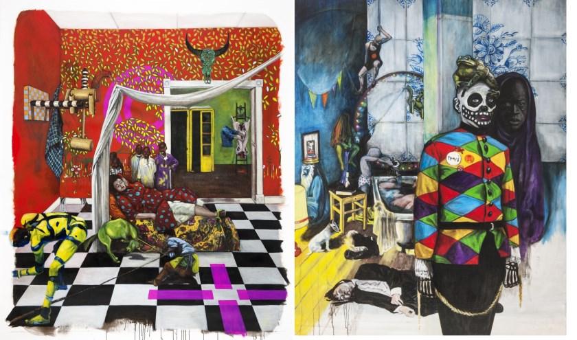 Twee van de twaalf schilderijen, waarop Eveline van de Griend zich als een moderne Jeroen Bosch laat zien. Met symbolische verwijzingen naar onder andere niet-westerse kunst. Foto: Matias N. Franco