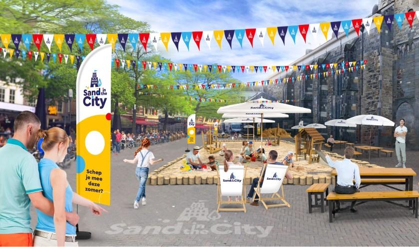 Op de Oude Markt komt de enorme zandbak van 7,5 bij 20 meter te staan. Elke week zijn er speciale activiteiten.
