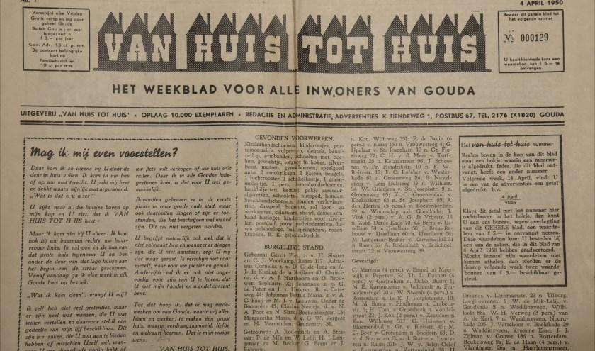 Het eerste nummer Van Huis tot Huis rolde op 4 april 1950 van de persen bij Drukkerij Verzijl.