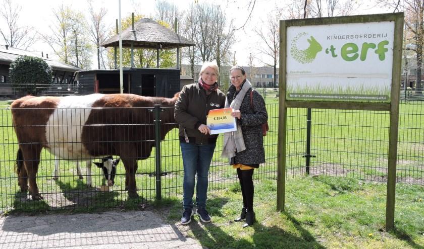 Resy van Amstel overhandigt namens C.C.V. Schoenlapperslaand en R.K. Parochie St. Jan de Doper de cheque aan Melanie van Ooyen, voorzitter van kinderboerderij 't Erf.